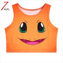 2017 summer women fashion harajuku cartoon print short slim stretchy orange color cheap tank top for party and club(China (Mainland))