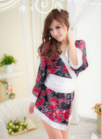Free Shipping Women Japanese Black Flower Kimono Costumes Sexy Japanese Adult Kimono For Female