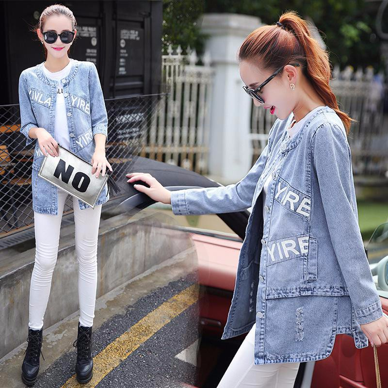 2016 Plus Size 4XL Women Autumn Winter Cotton Hole Denim Jacket woman Letter Print Jeans Slim Coats Fashion clothes