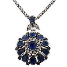 Hot 2016 Gorgeous Bohemia Vintage Jewelry Fashion Resin Silver Plated Women For Pendant Long Necklace Crystal Gifts(China (Mainland))