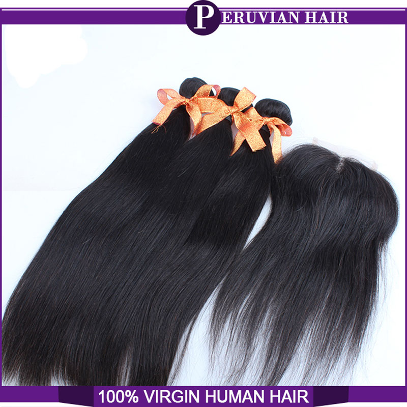 Grade 7A Peruvian virgin hair with closure hair bundles with lace closures Peruvian straight with closure human hair beauty<br><br>Aliexpress
