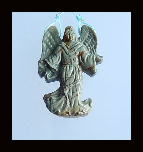 Carved Multi-color Picasso Jasper Angel Pendant,48x32x7mm,14.6g(China (Mainland))