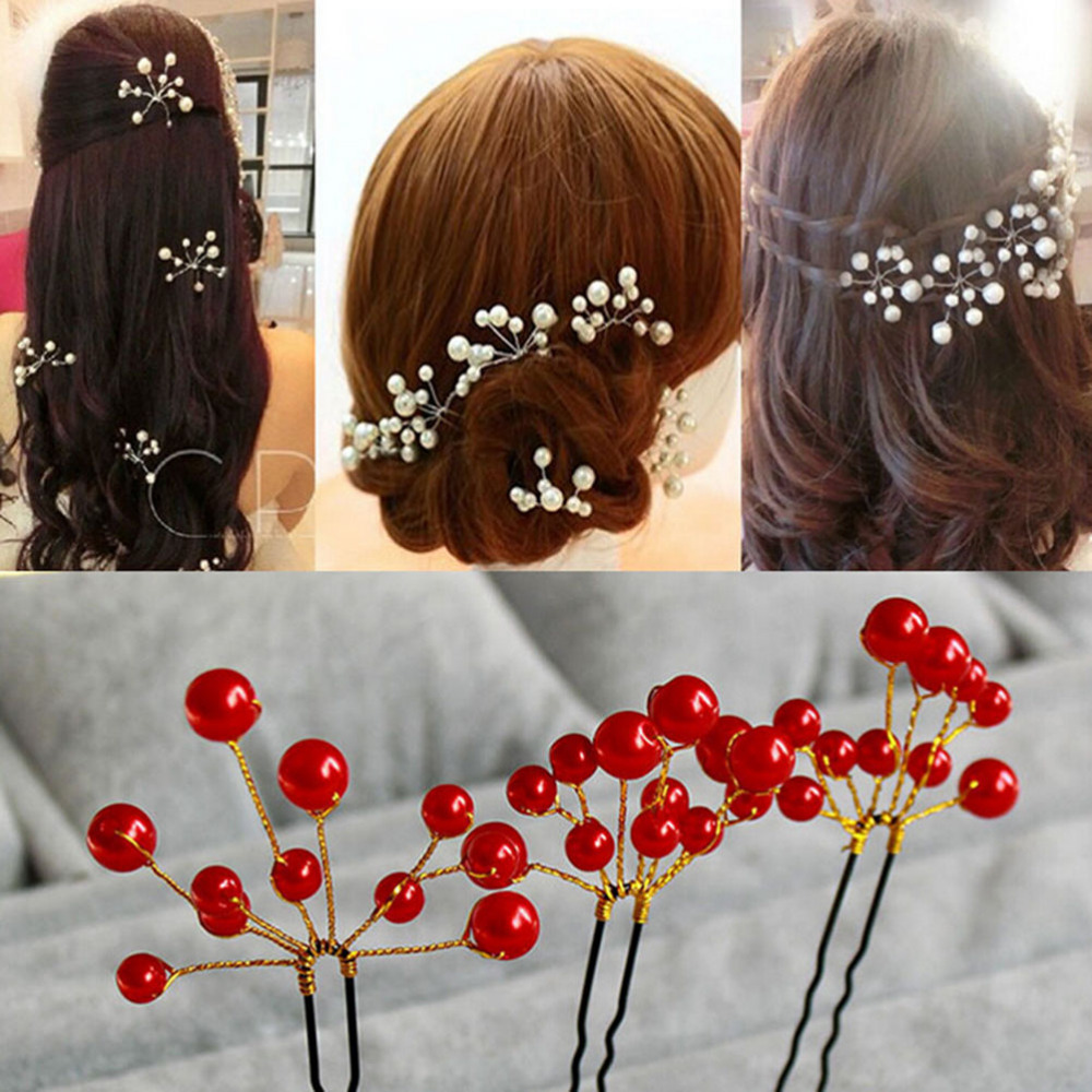 2016 Pearl Hair Pins Wedding Bridal Accessory Jewelry 2 Pcs/lot For Women Hair Clips Bridesmaid Jewelries(China (Mainland))