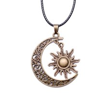 Buy Trendy Crescent Moon& Sun Charm Necklace Black Leather Silver Color Long Chain Cheap Necklaces Jewelry Women Man for $1.02 in AliExpress store