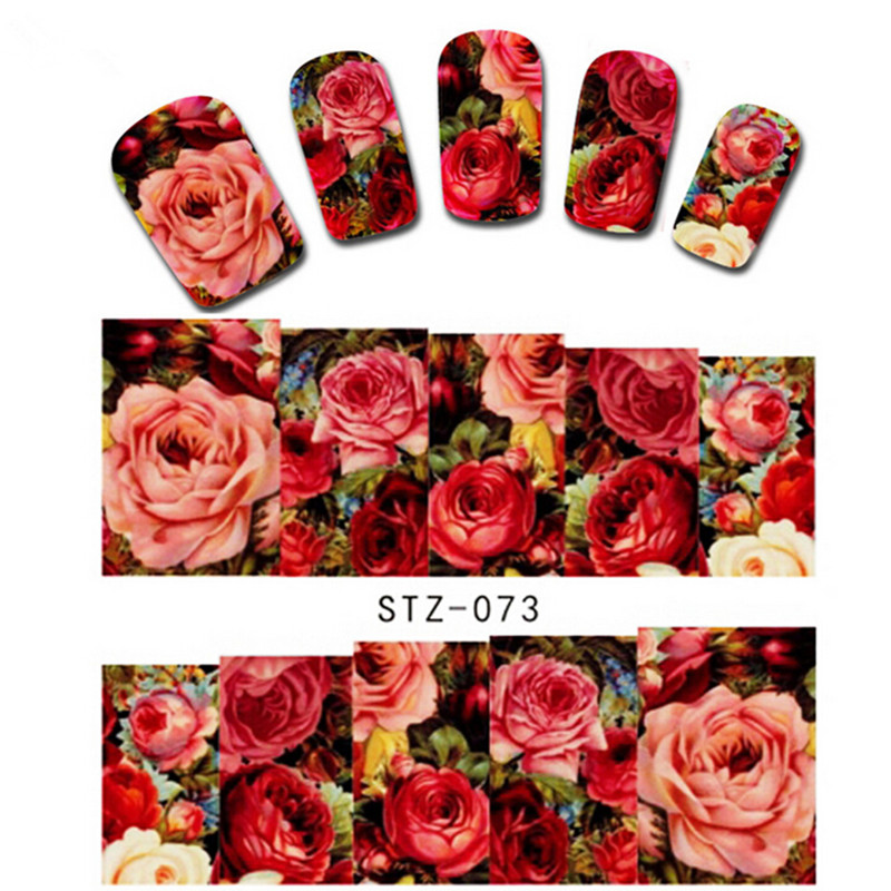 1PCS New Designs Nail Art Stickers Red Flower Rose Decals Water Transfer Full Cover Wraps Foils Patch Decorations Tools STZ-073(China (Mainland))