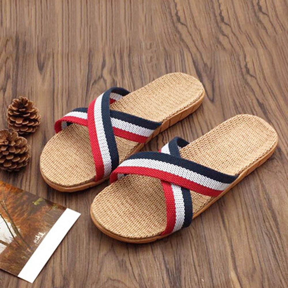 Women Men Anti-slip Linen Home Indoor Summer Open Toe Flats Shoes Slippers