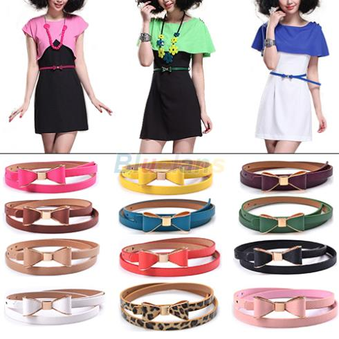 Fashion Women's Candy Color Big Bowknot PU Leather Thin Skinny Waistband Belt 1H7L(China (Mainland))