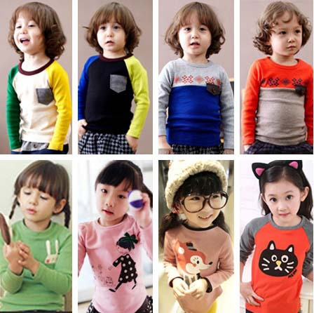 100% cotton 2015 children t-shirts child tops tees kids clothes boys blouse girls long sleeve t shirt(China (Mainland))