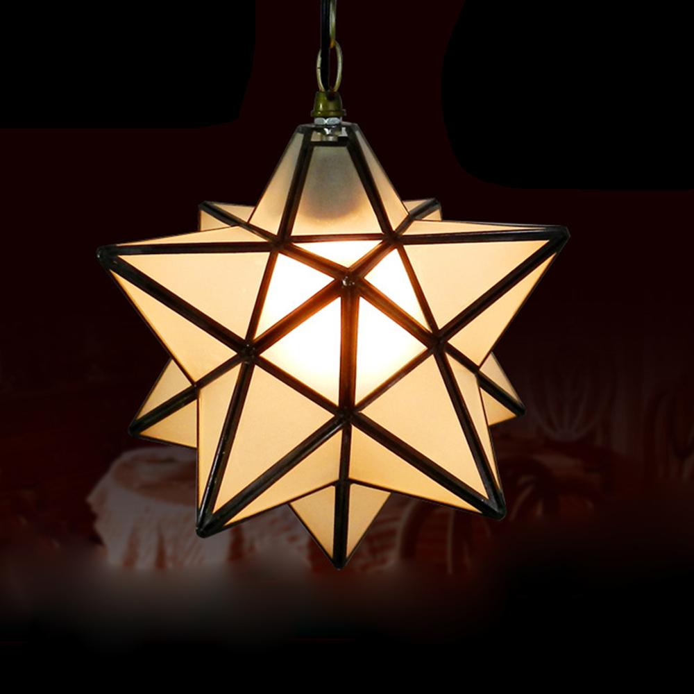 Novelty Star Shaped Tiffany Glass Pendant Lamp Art Decors