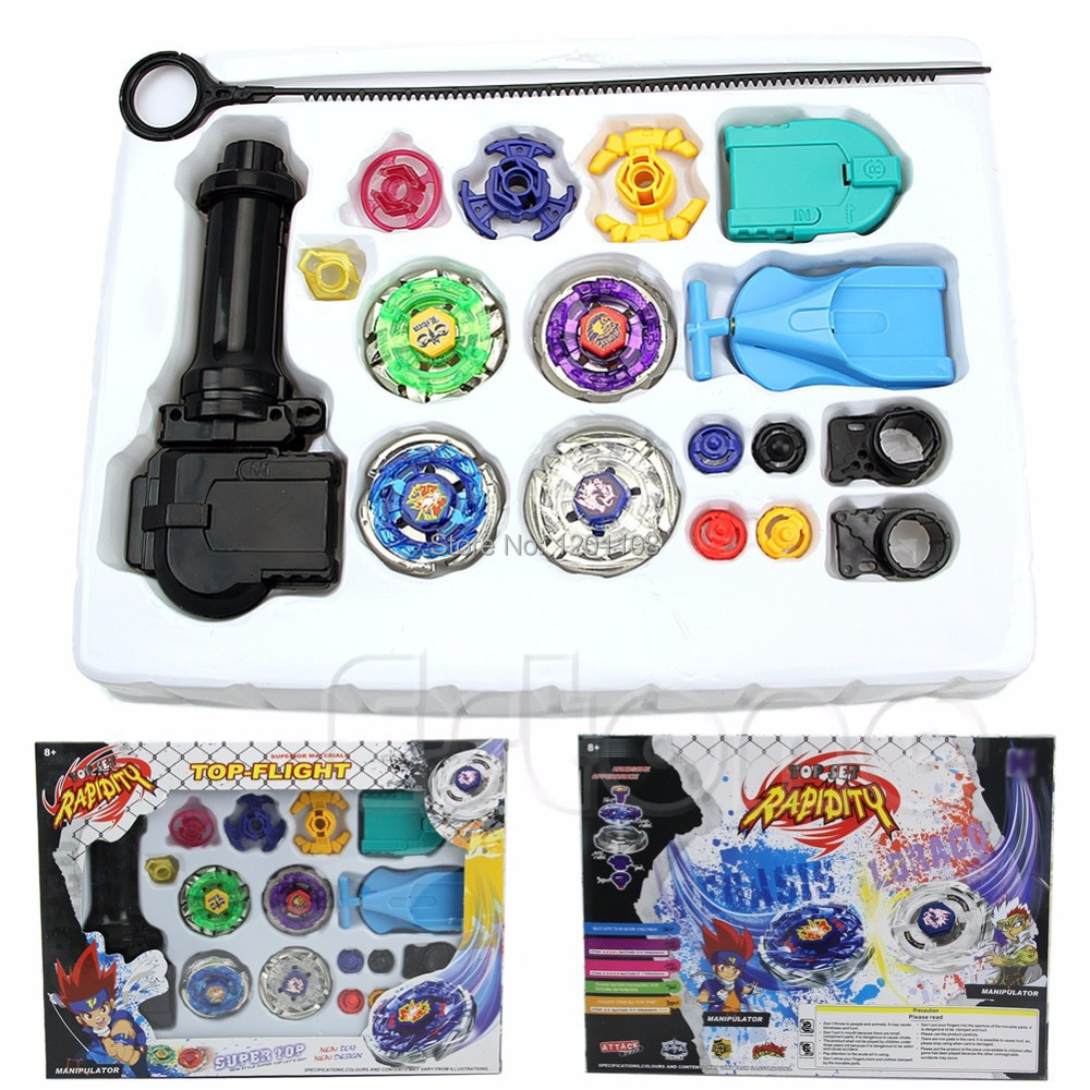 Free Shipping New Metal Fusion Top Rapidity Fight Master Rare Beyblade 4D Launcher Grip Set(China (Mainland))