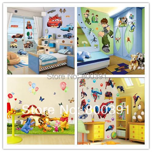 Many styles mix!,PVC removable Cartoon wall stickers,50*70cm fashion tree house sticker children room - EMILYGU KIDS FASHION STORE store