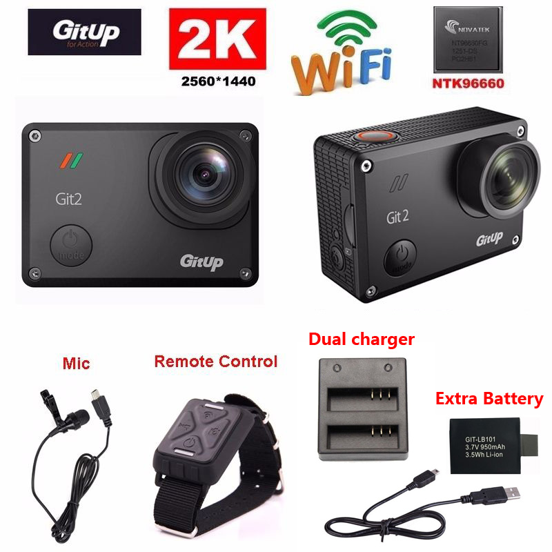 Gitup Git2 Novatek 96660 1080P WiFi 2K Outdoor Sports Action Camera+Mic+Remote Control+Extra 1pcs Battery+Battery Charger(China (Mainland))