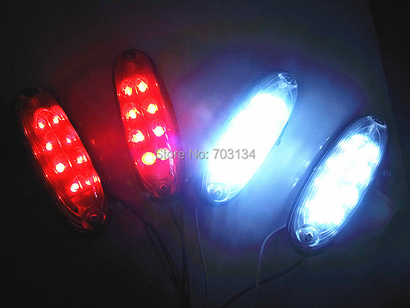 12pcs Red/White/Amber Universal Car Truck Trailer Tractor Van Bus Side/Rear/Roof Led Marker lamp Clearance lights as Fog lamp(China (Mainland))