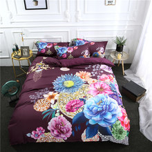 3Pcs/Set Fashion Peacock Printed Duvet Cover Set 3D Bedding Sets Queen King Twin Size(China)