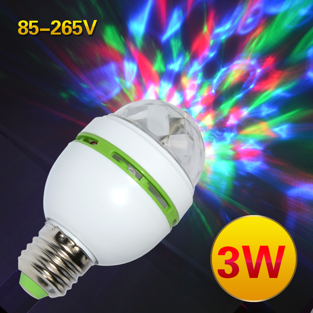E27 3W Colorful Auto Rotating RGB LED Bulb Stage Light Party Lamp Disco for home decoration lighting lamps free shipping(China (Mainland))