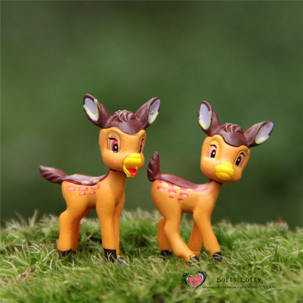 Free shipping Cute Deers Mini Figures 2pcs/lot PVC toys Bambi succulent plants cake car office decoration party supply kids gift(China (Mainland))