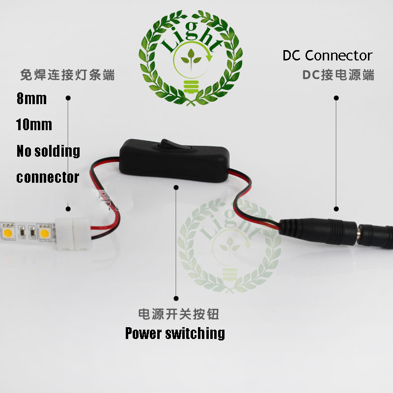 Free shipping line switching with female DC head and 10mm free welding connector for 5730 5050 LED Flexible strip(China (Mainland))