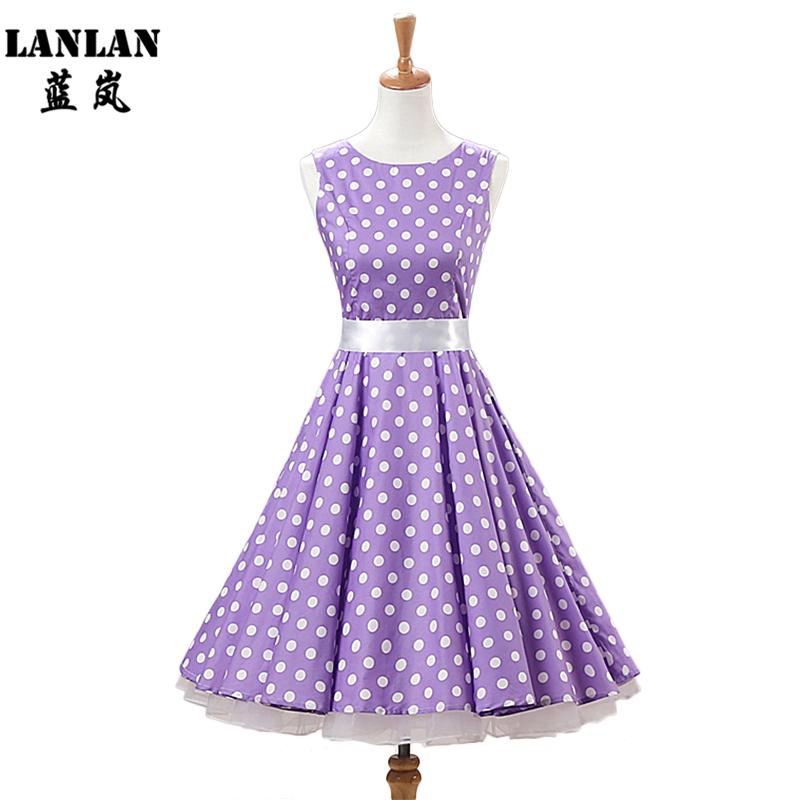 LANLAN Lavender Red Black Polka Dot Cotton Sleeveless Swing Dress Sweet Audrey Hepburn Dress Vintage 2016 Women Retro Dresses(China (Mainland))