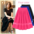 2016 Summer Skirts Women s Clothing Pleated Solid Chiffon short Tulle kilts European and American Style