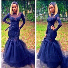 Buy Navy Blue Tulle Mermaid Long Sleeves Prom Dresses 2017 Scoop Appliques Beaded Long Sweep Train Evening Gowns For Women for $189.00 in AliExpress store
