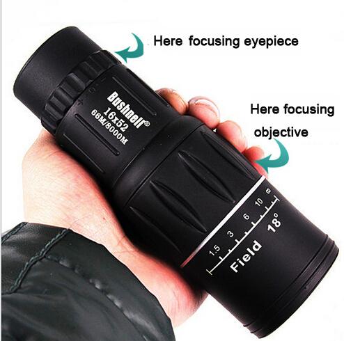 Nitrogen waterproof all-optical green film monocular telescope 16X52 binoculars for travel hot selling free shipping