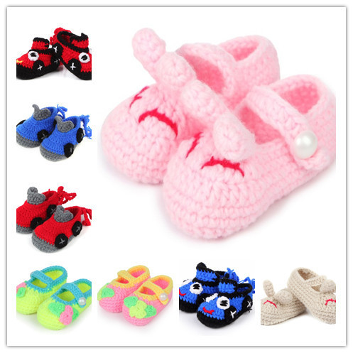 New Baby Handmade Knitted Baby Shoes Crochet Toddler Shoes Girls Crochet Knitted Flower Sandals Infant Shoe(China (Mainland))