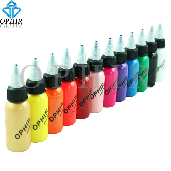 OPHIR Airbrush Nail Ink for Nail Stencil Art Polishing 30 ML/Bottle Temporary Tattoo Pigment _TA100(1-12)(China (Mainland))