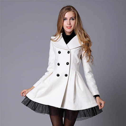 Trench coat ,women coat,Twill silk skirt pendulum's double breasted wool coat Women Winter Woolen Clothes Lace Coats--AFY0284(China (Mainland))