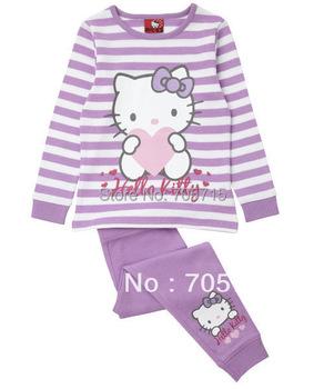 Retail Free shipping hello kitty long sleeve shirt + pants set,girl clothing set,boy clothing set