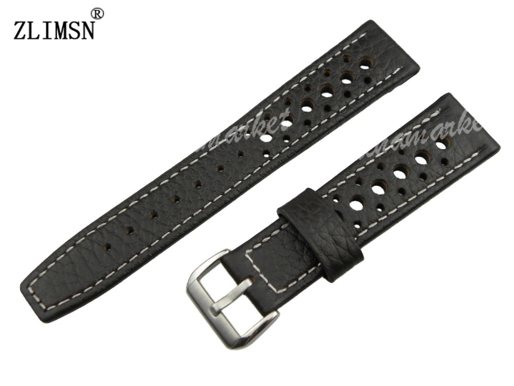 20mm HQ New Black Genuine Leather Watch band Strap Bracelets with Silver buckle<br><br>Aliexpress