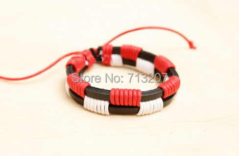 Free shipping!!!Cowhide Bracelet,Lucky, with Wax Cord, mixed colors, 20-25mm, Length:Approx 6.5 Inch, 50Strands/Lot, Sold By Lot<br><br>Aliexpress