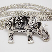 NQ030 Retro Antique Silver Hollow Lucky Elephant Animal Pendant costume Long Chain Vintage Necklace Jewelry bijouterie for Women(China (Mainland))