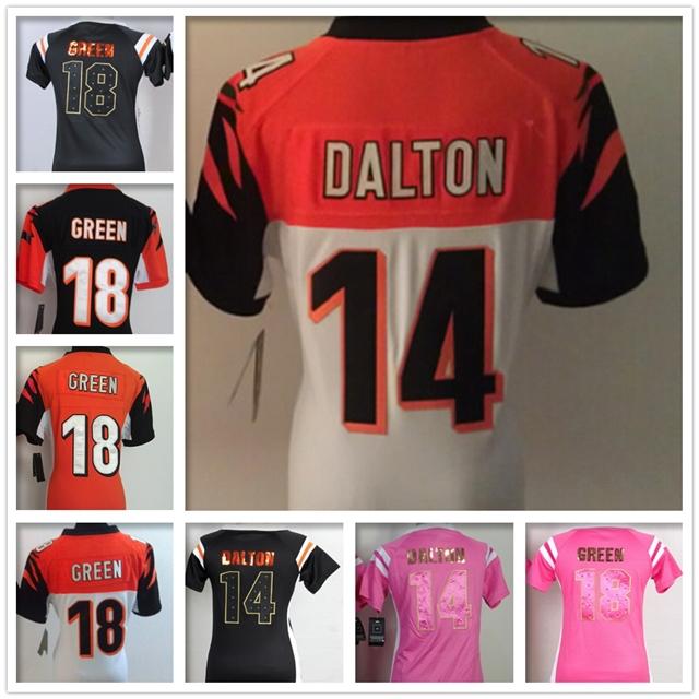 Women #14 Andy Dalton jersey Stitched #18 A.J.Green jersey Cheap Cincinnati jerseys throwback American football jersey XXXL(China (Mainland))