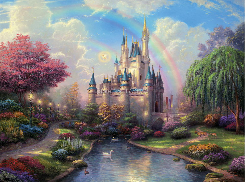 Thomas Kinkade landscape oil painting prined on canvas Disneyland Rainbow Fairy Castle painting canvas pictures for kids room(China (Mainland))