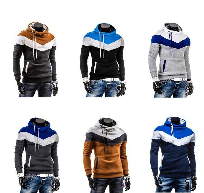 New 2014 Spring Mens Fleece Hoodies Hit Color Design Men Sport Dress Slim Sweatshirt Man Hoody XXXL - Masscharm's store