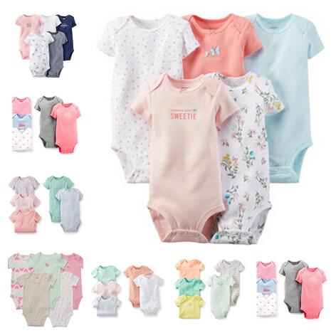 Cartes Baby Girls Short Sleeve Bodysuits Set,Soft Cotton Baby Girls 5-pack Clothing Set,Freeshipping(China (Mainland))