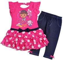 2015 New summer girls cartoon Doc McStuffins clothing set kids cute dress+pants suits baby lovely Brand clothing suits(China (Mainland))