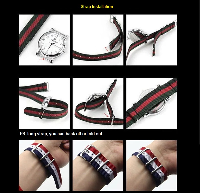 20mm Nato G10 Black Green Red Bond Military Diver's Watch Strap Sport Watchband