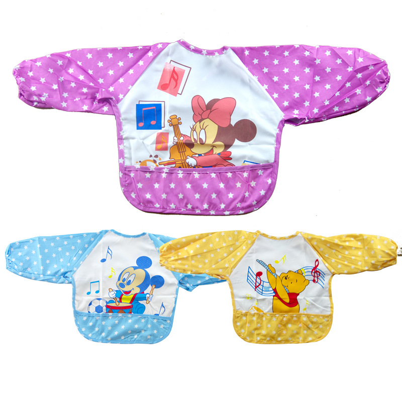 Free shipping! Cute Cartoon Children Baby Waterproof Long Sleeve Bib Apron for baby self feeding(China (Mainland))