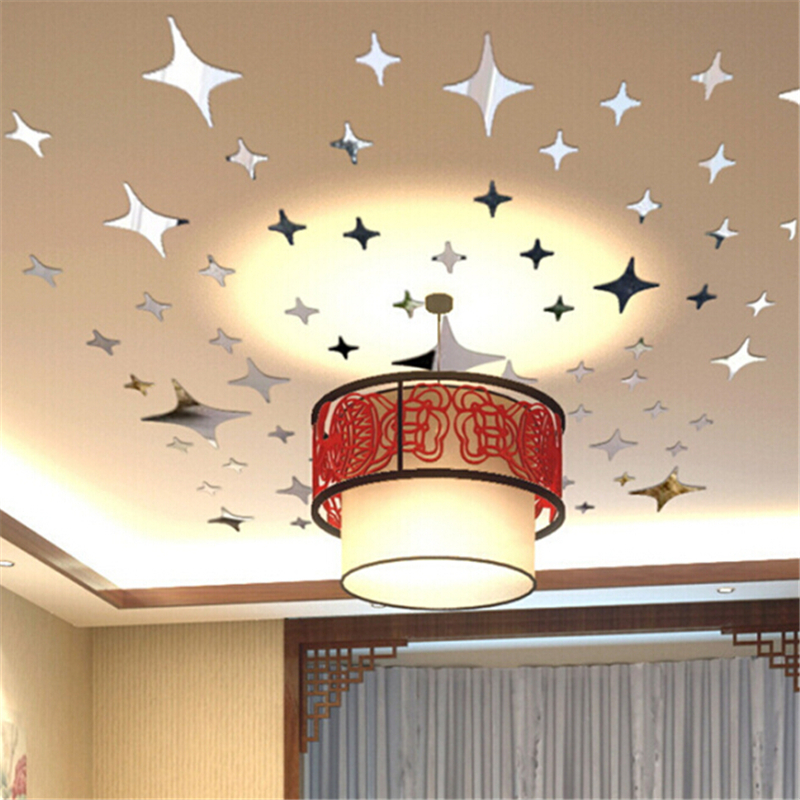 New Acrylic Mirror wall stickers 39 Stars European Creative Living room removable Sticker mural 3d diy home decoration(China (Mainland))