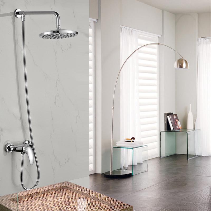 "Фотография 2016 New Single Handle 8"" Rainfall Shower Faucet Set Wall Mount Brass Shower Arm Mixer Valve Taps"