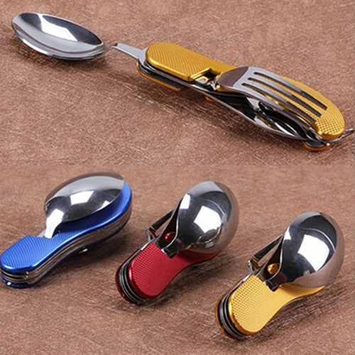 Durable 3 in 1 Outdoor Travel Camping Hiking Pocket Folding Spoon Fork Knife(China (Mainland))