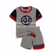 Brand 2015 hot sale boy summer clothing set short sleeve fashion cotton shirt + short pants children boy's clothes sets(China (Mainland))