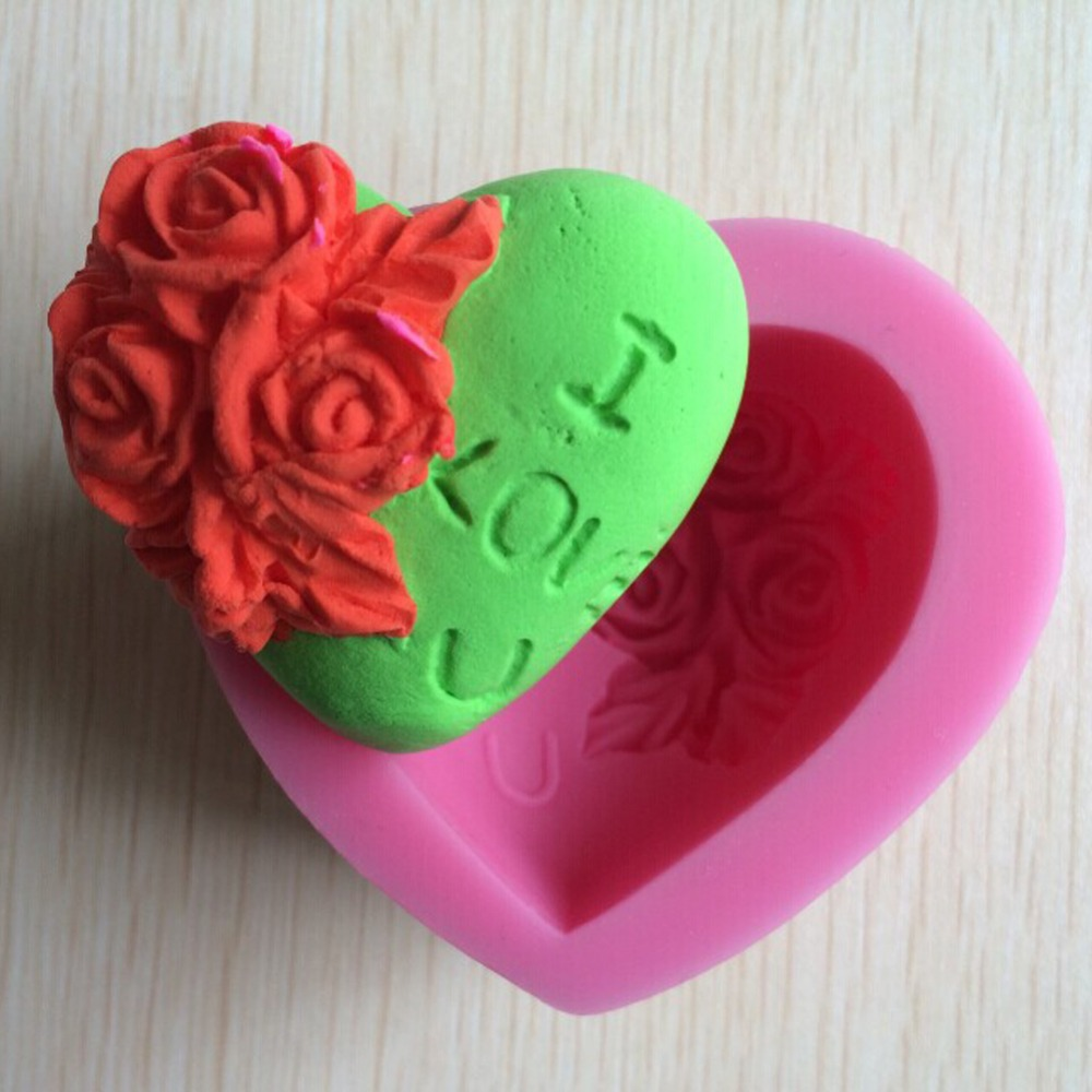 Heart Shape Flower Chocolate Candy 3D silicone Mould Cartoon Figre/cake tools Soap Mold Sugar craft Cake Decoration C320(China (Mainland))