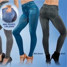 Jeggings Jeans Leggings Women Velvet Leging Jeans Blue Black Ladies Jeggins with  Real Pockets  Denim Skinny Legging Pants KZ13(China (Mainland))