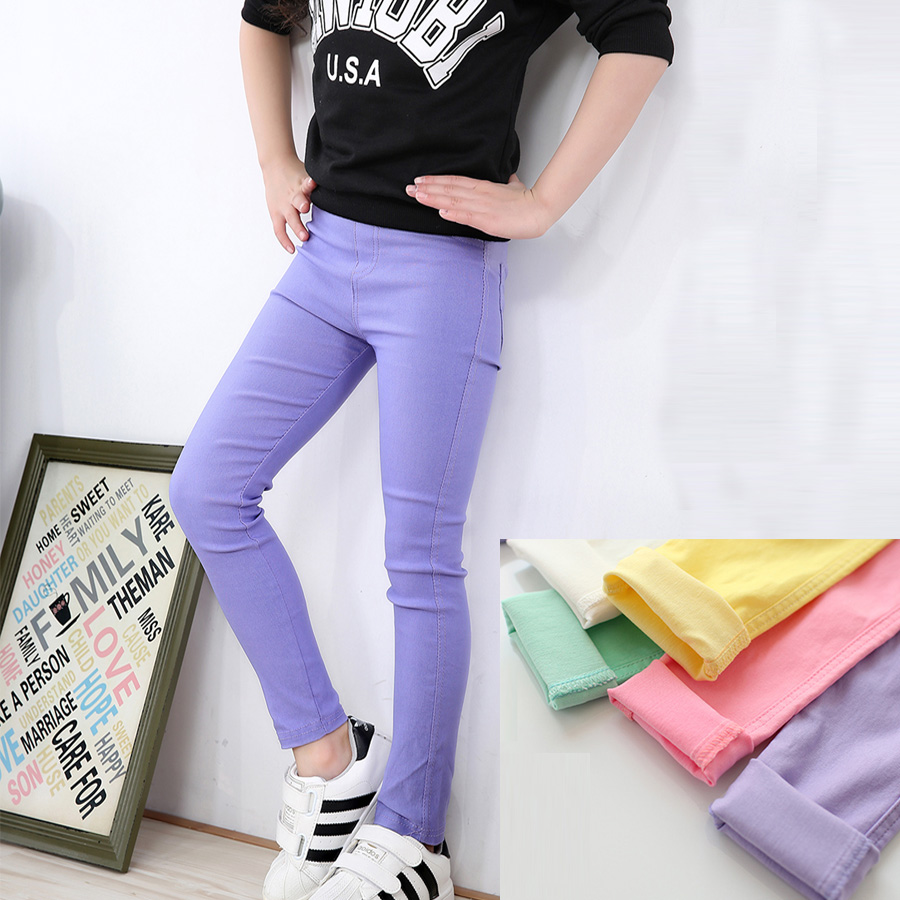 High quality Girls Jeans Candy Color Skinny Children Pants Girls Baby Casual Long Pants,Kids Trousers DK04(China (Mainland))