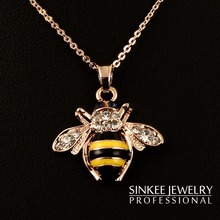 SINKEE jewelry free shipping cute rose gold plated solid little bee animal pendant necklace for women XL399