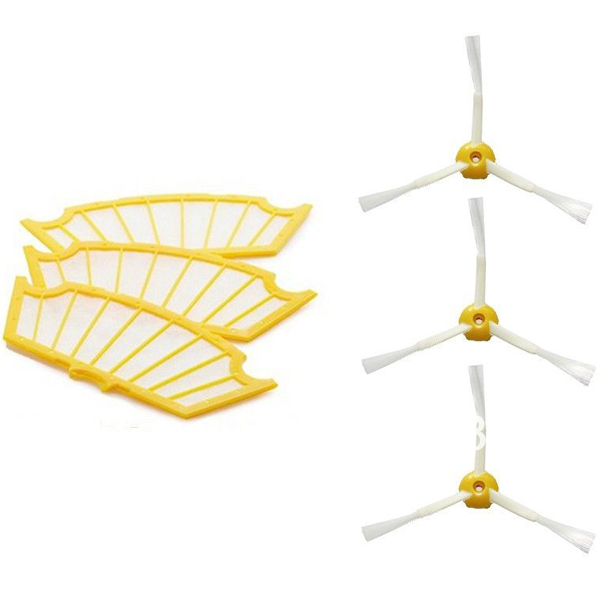 3 Filters+3 Side Brush 3 Armed for iRobot Roomba 500 Series 530 550 560 570 Part(China (Mainland))