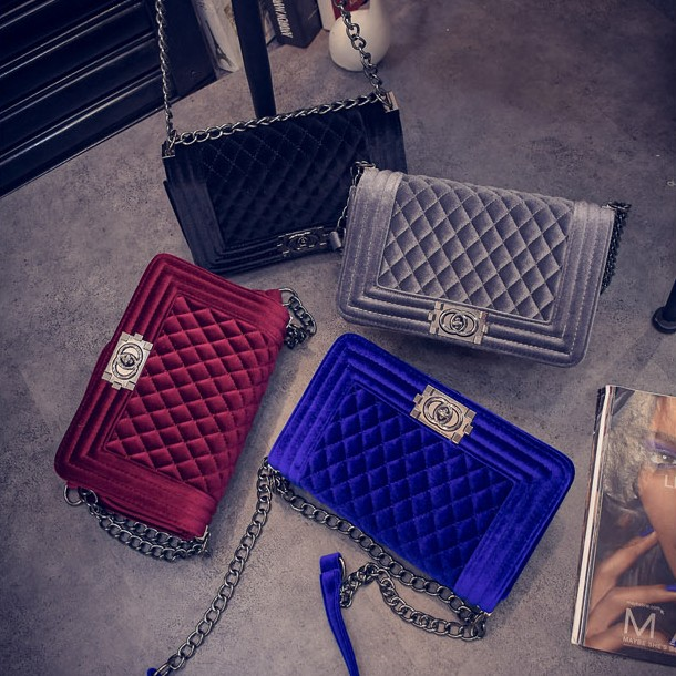 New Fashion Women Velvet Shoulder Bags Diamond Lattice Chain Crossbody Bag Ladies Messenger Bags Handbag