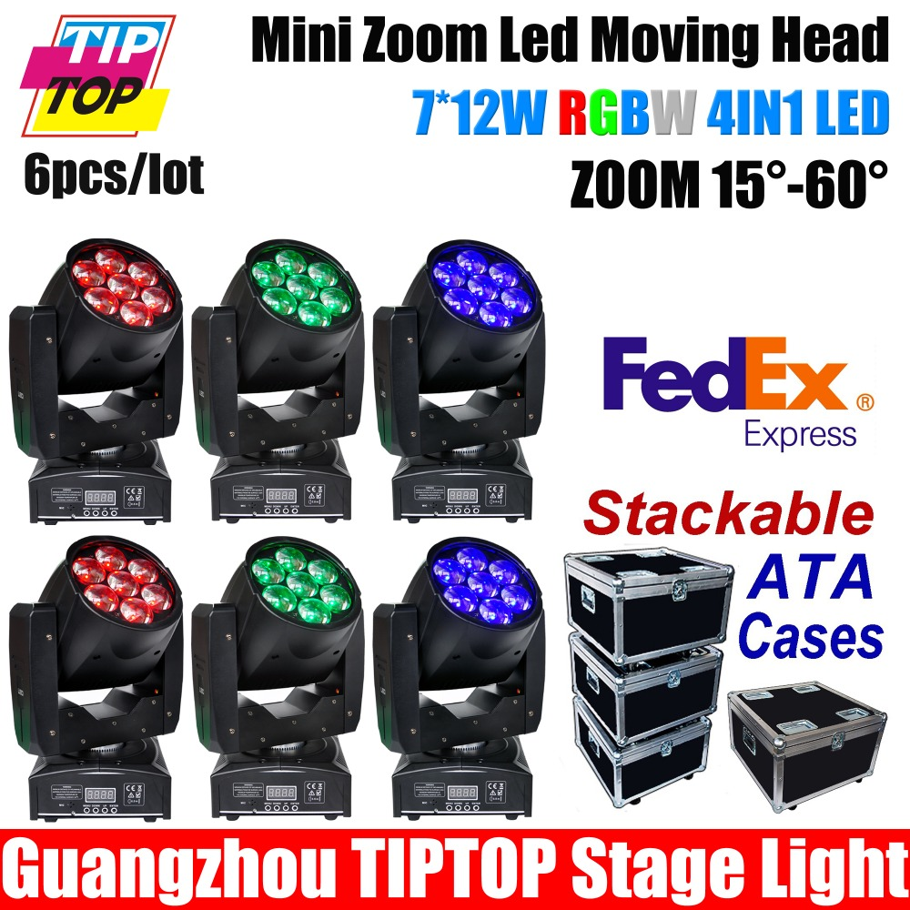 Musicians Gear Rack Flight Case 6 Space Black 6XLOT TP-PL6W5 7*12W RGBW Color 4IN1 LED Zoom Moving Head Washer Stage Lighting<br><br>Aliexpress
